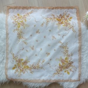 Accessories - Vintage Japan Square Sheer Scarf Yellow Roses
